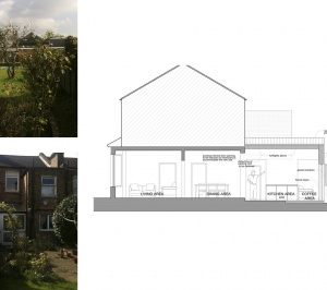 Finchley Central Barnet N3 rear house extension Section AA 300x266 Finchley Central Barnet N3 | Rear house extension