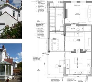 High Barnet EN5 Residential extension locally Listed house Ground floor plan 300x266 High Barnet EN5 | Locally Listed house extension
