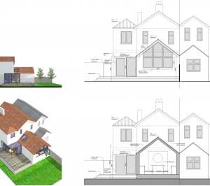 High Barnet EN5 Residential extension locally Listed house Sections and elevations 300x266 High Barnet EN5 | Locally Listed house extension