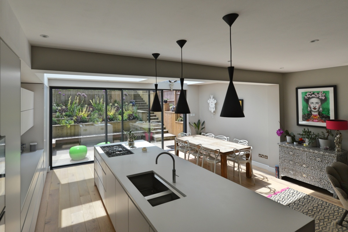 Architect designed rear house extension Highgate Haringey N6 – Kitchen and dining area 1 1200x800 Highgate, Haringey N6 | Rear house extension