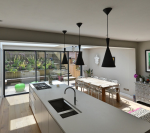Architect designed rear house extension Highgate Haringey N6 – Kitchen and dining area 1 300x266 Highgate, Haringey N6 | Rear house extension