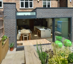 Architect designed rear house extension Highgate Haringey N6 – Rear elevation 300x266 Highgate, Haringey N6 | Rear house extension