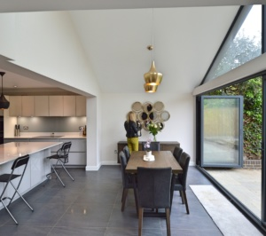 Architect designed roof and kitchen house extension Kingston KT2 Dining area 300x266 Kingston KT2   Roof and kitchen house extension
